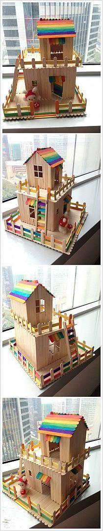 wooden stick house diy craft