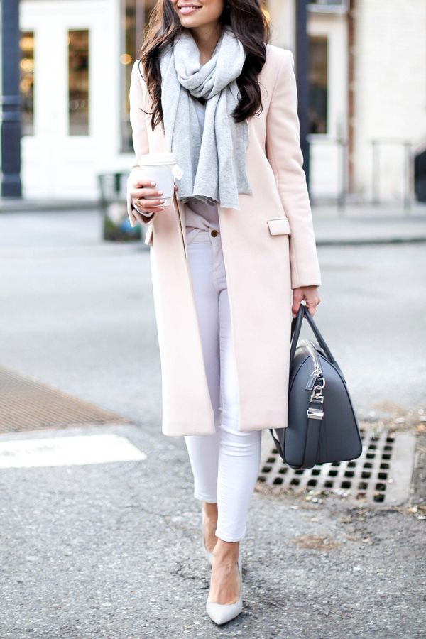 With Love From Kat - blush pink winter coat, grey cashmere scarf, Frame white skinny jeans and SJP grey suede pumps http://FashionCognoscente.blogspot.com