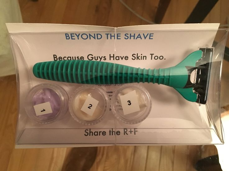 "Rodan + Fields - I made a ""mini facial"" for men. Beyond the shave is basically in our business kits. The instructions are printed on one side of a postcard & my contact info is on the other. It's packaged in a clear pillow pouch, used 5g jars for samples & added a razor. The post card is attached to the pouch with a clear elastic hair tie. https://jessiegamble.myrandf.com/Shop/Unblemish #Changingskinchanginglives #rodanandfields #consultant #bbl #minifacial #bigbusinesslaunch #freebies"