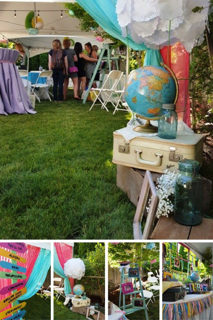 Oh the Places you'll Go Graduation Party Theme. Dr Seuss Party. Grad Party Ideas. Graduation Themes. Study Abroad Theme. Pink and Blue. Candy Buffet. Travel Theme. Globes