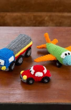 Happy Little Car, Plane, & Truck Free Crochet Pattern from Red Heart Yarns
