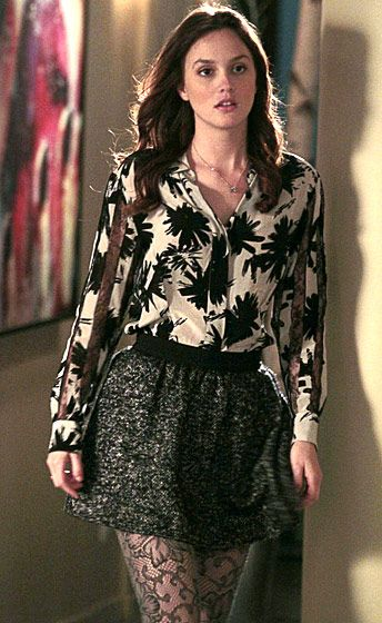 In Season 4 Blair Waldorf (Leighton Meester) looked city chic wearing a Dries van Noten top and an Ulla Johnson skirt.: