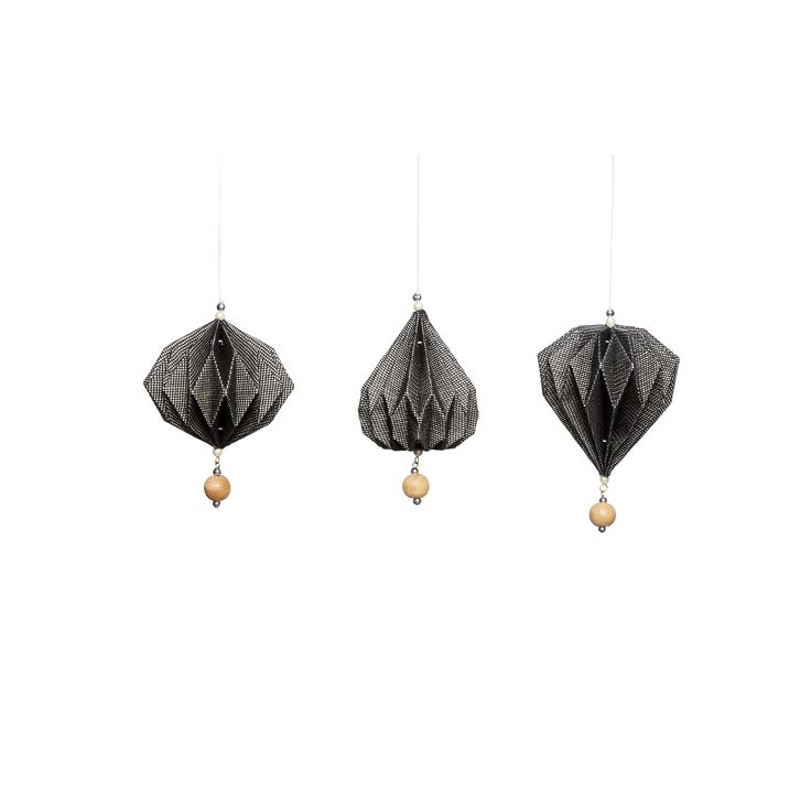 Black handfolded paper Christmas ornaments in a set of 3. Item number: 430302 - Designed by Hübsch