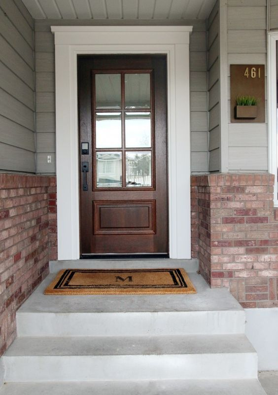 Before And After Our New Front Door Outside Yard Pinterest Doors Exterior Trims