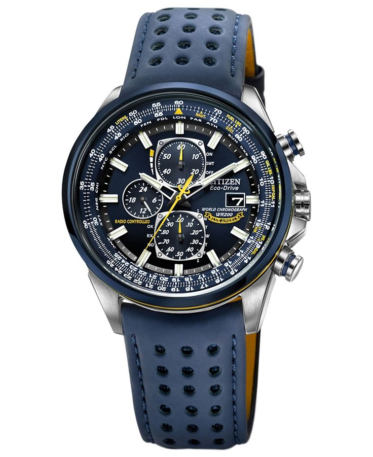 Citizen Watch, Men's Eco-Drive Blue Angels World Chronograph A-T Blue Perforated Leather Strap 43mm AT8020-03L - Men's Watches - Jewelry & Watches - Macy's