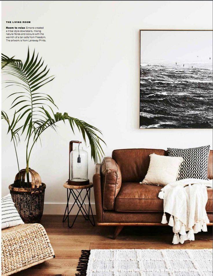 Living Room With Leather Sofa Livingroom Leathersofa Coastallivingroomsbrowncou Scandi Living Room Living Room Scandinavian Scandinavian Design Living Room