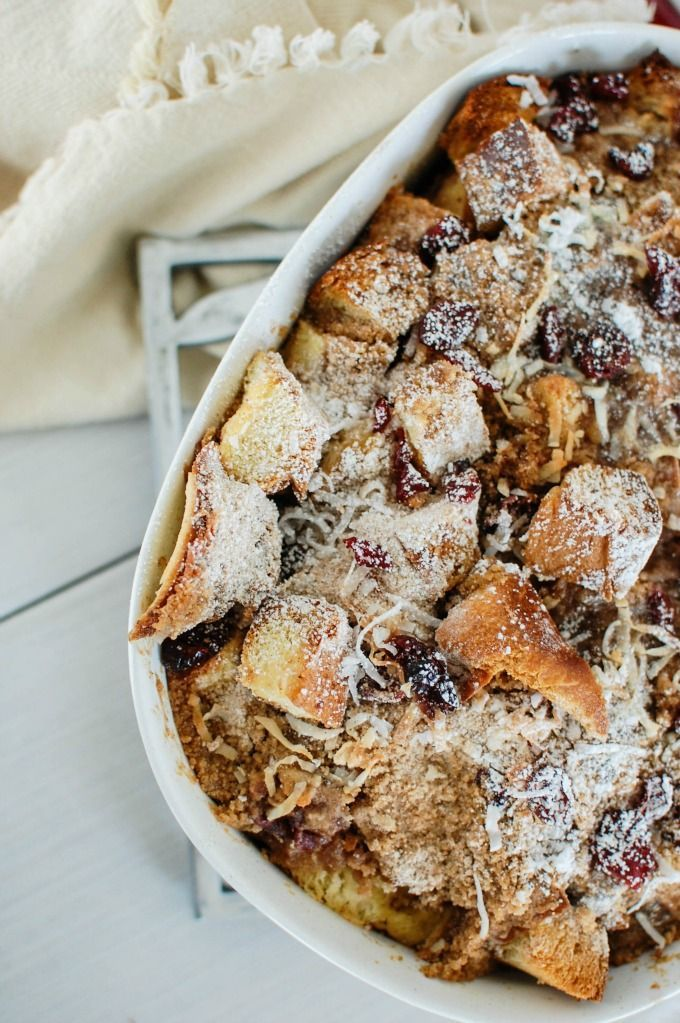 Overnight Coconut Cranberry French Toast Bake takes the work out of breakfast. Prepare this dish the night before in less than 15 minutes, wake up and pop it in the oven for a warm, delicious breakfast.// A Cedar Spoon AD