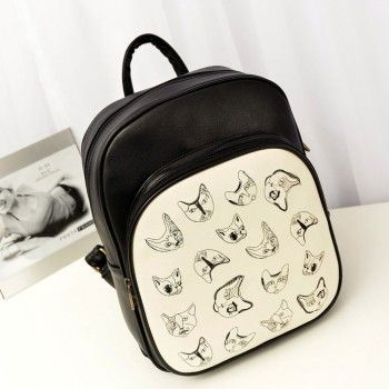 College British Retro Cat Print Backpack & Handbag for only $24.90 ,cheap Fashion Handbags - Fashion Bags online shopping,College British Retro Cat Print Backpack is fashion and useful.You can use to the school bag or travelling bag.