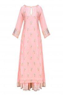 Nude Pink and Gold Gota Patti Work Kurta and Skirt Set #rajhbybaninsheena #festiveseason #shopnow #ppus #happyshopping