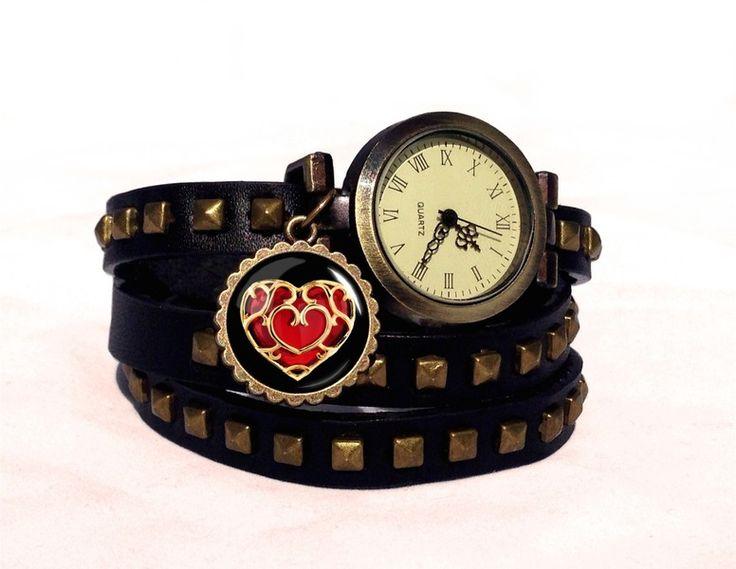 Leather watch bracelet ZELDA HEART, 0346WBBC from EgginEgg by DaWanda.com