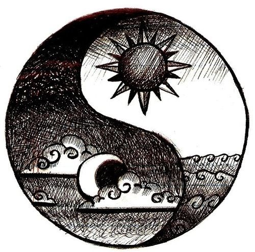 Simple sun and moon ying yang. Love this. I drew something like this before and intended on getting it tatted on me