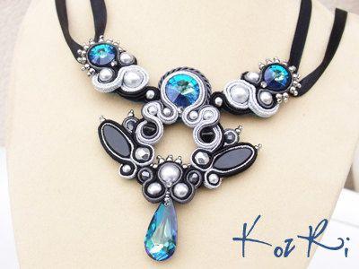 Ilien Pendant  Soutache necklace in gray by KozRiJewelleryDesign, $150.00