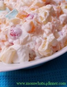 I have been looking for this recipe but i thought it was called Angels Delight (my mom used to make it )Ambrosia salad.   fruit and marshmallows