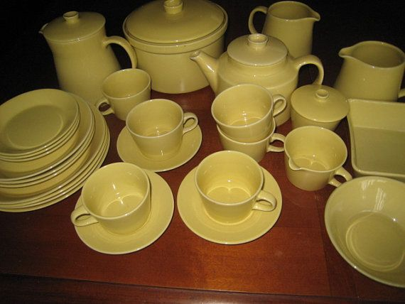 Lot of Vintage Arabia Finland Yellow Kilta, Teema, by Kaj Franck, 33 pcs, Can Be Sold Separately