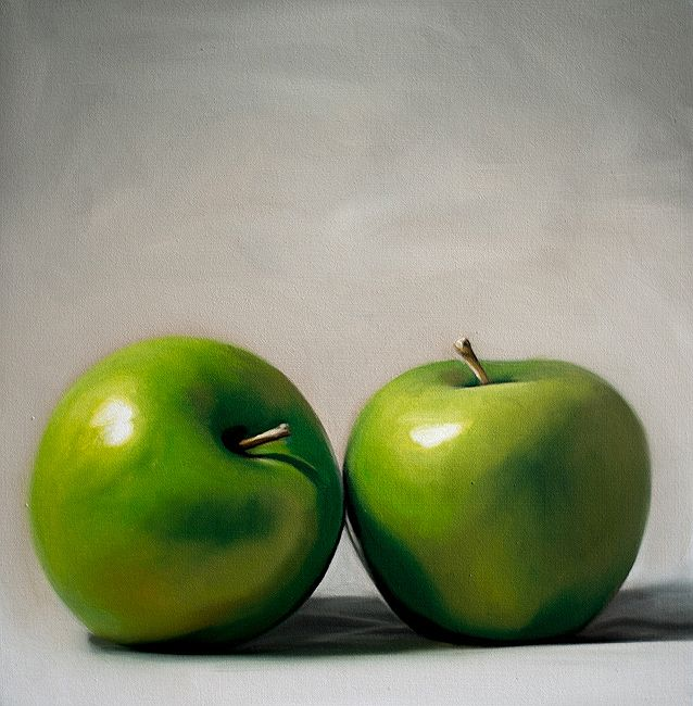 Apple Duo - Original oil painting by Lauren Pretorius http://www.ebay.com/itm/Lauren-Pretorius-Original-Art-Food-Fruit-Green-Oil-Painting-Apple-Duo-/161515330829?