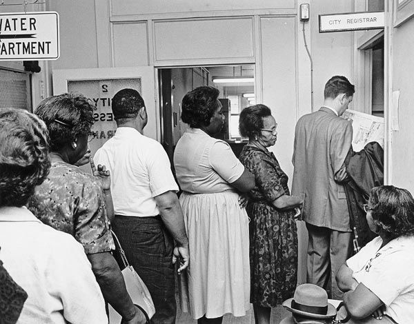 After the 1964 passage of the TWENTY-FOURTH AMENDMENT to the United States Constitution, banning the poll tax in federal elections, Virginians flocked to register to vote.  The poll tax was the centerpiece of Virginia's policy of restricting the suffrage, and all other former Confederate states employed it for the same purpose.