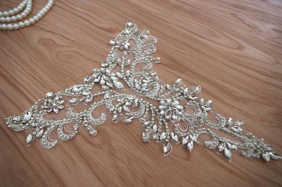 apliques de novia escote de diamantes de imitación para
