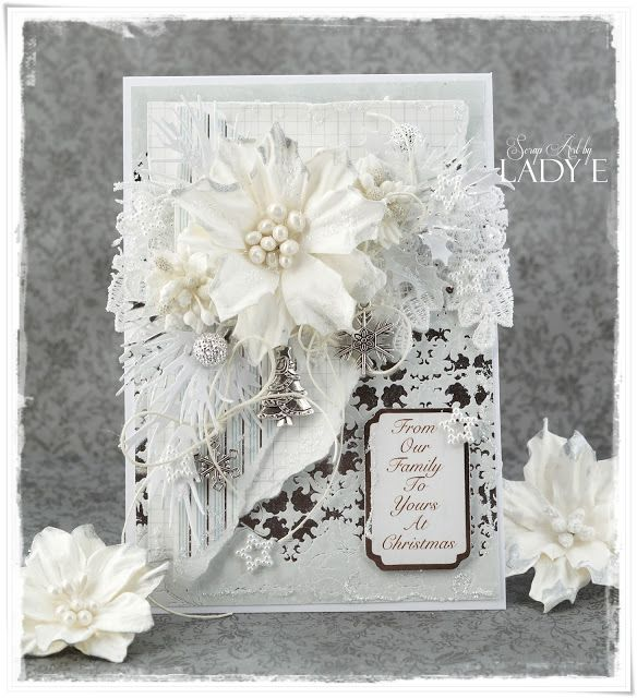 Hi everyone :)Lady E here with white & silver Christmas card.I've used absolutely beautiful Pretty Flori flowersand other gorgeous embellishments from Wild Orchid Craftshere is the video tutorial :)