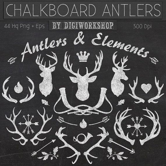 "Chalkboard Clipart: ""Chalkboard Antlers and Elements"" clip art contains silhouettes deers, antlers and other elements in chalkboard style"