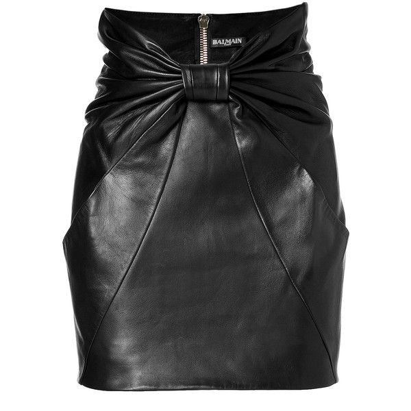 Balmain Leather Mini Skirt ($1,677) ❤ liked on Polyvore featuring skirts, mini skirts, balmain, black, leather miniskirt, high waisted leather skirt, mini skirt, black skirt and short mini skirts