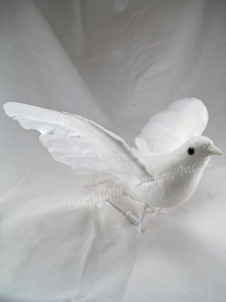 ARTIFICIAL BIRD, Dove, Flying WHITE, 9 inch, per EACH