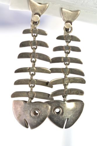 Vintage 925 Sterling Silver Mexican Taxco Dangling Fish Bone Screw Back Earrings | eBay