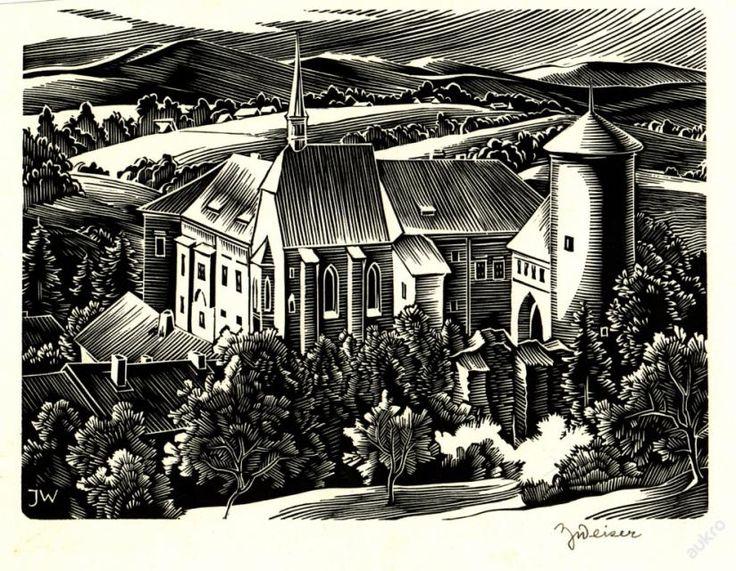 Weiser Josef, dřevoryt - Hrad / klášter v kopcích linoryt (X3) 88 x 118 mm 100 x 129 mm