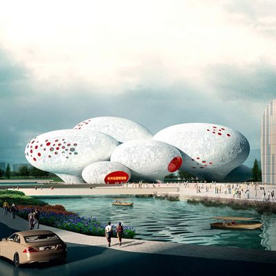 Architecture and planning firm MVRDV of Rotterdam, the Netherlands, has revealed its winning design for the China Comic and Animation Museum in Hangzhou, China. Inspired by speech bubbles from comics, the design features a series of eight balloon-shaped volumes linked to create an internally complex 30,000-square-meter (320,000-square-foot) museum.: 30 000 Square Meter Museum, Animation Museum, Balloon Shaped Volumes, Complex 30 000 Square Meter, Architecture, 320 000 Square Foot, Design, Netherlands, China