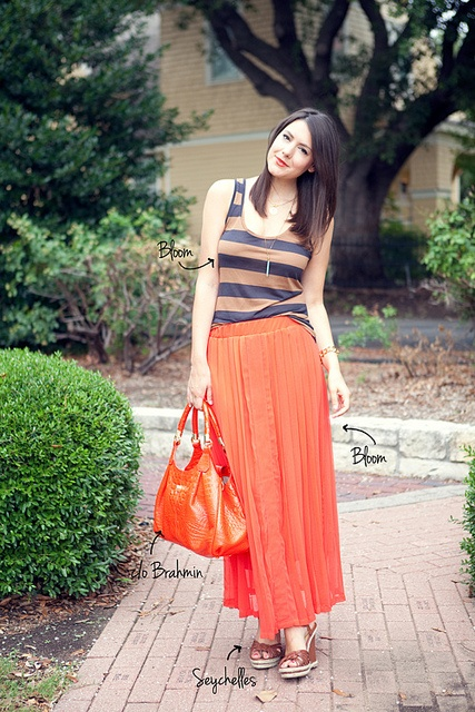 : Colors Orange, Bloggers Style, 6 14 12A, Maxis, Everyday Skirts, Kendi Everyday, Stripes, Pleated Maxi Skirts, Deep Blue