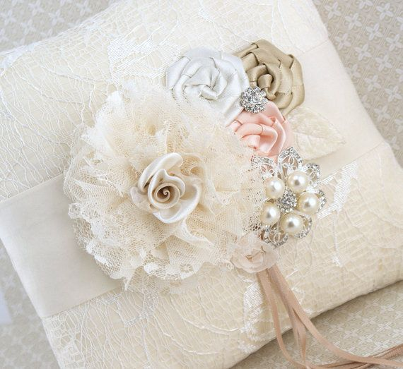 Ring Bearer Pillow Bridal Pillow in Ivory Champagne by SolBijou, $125.00
