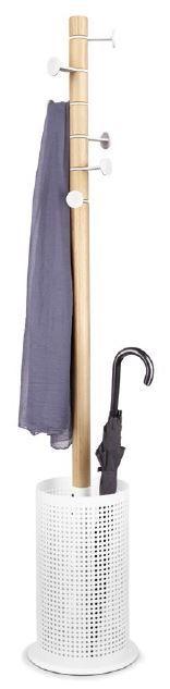 Denne multifunksjonelle stumtjeneren i ask og hvitlakkert stål er  svært praktisk og anvendelig.