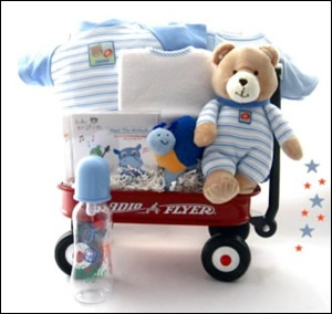 All Boy Wagon = This Radio Flyer wagon is filled with wonderful items for the new baby boy. The new little boy will love to snuggle with his new teddy bear while he listens to his Baby Einstein music CD.