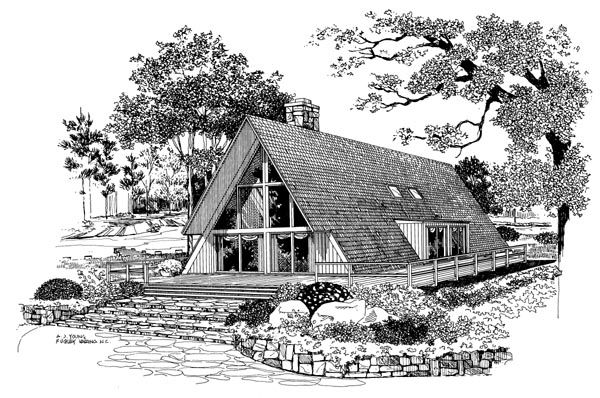 House Plan 95005 | A-Frame Contemporary Plan with 1688 Sq. Ft., 3 Bedrooms, 2 Bathrooms