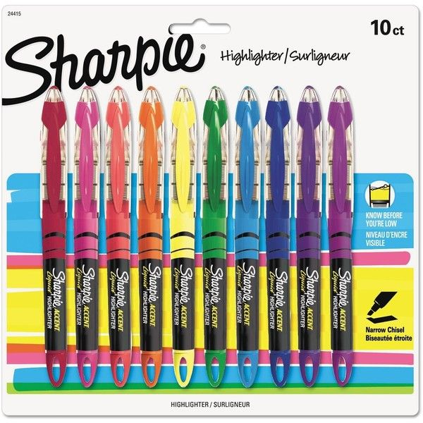 Sharpie Highlighters, Chisel Tip, Assorted Colors, 10 Pack ($8.48) ❤ liked on Polyvore featuring home, home decor, office accessories, colored highlighters and sharpie highlighter