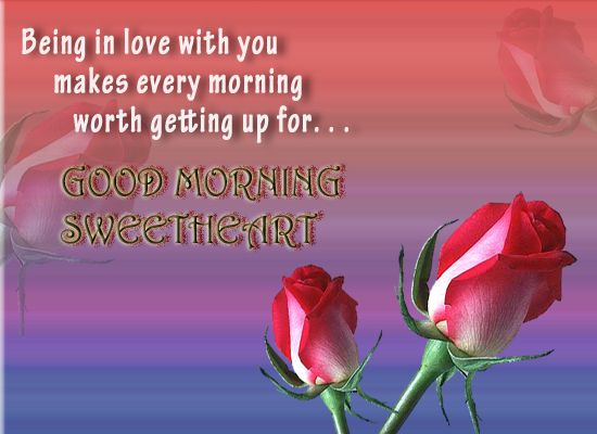"""True #Love! The only good reason for every #GoodMorning of life. For you if Love makes every morning worth getting up for then convey this to your sweetheart with this romantic """"Good Morning""""Ecard by www.123greetings.com"""