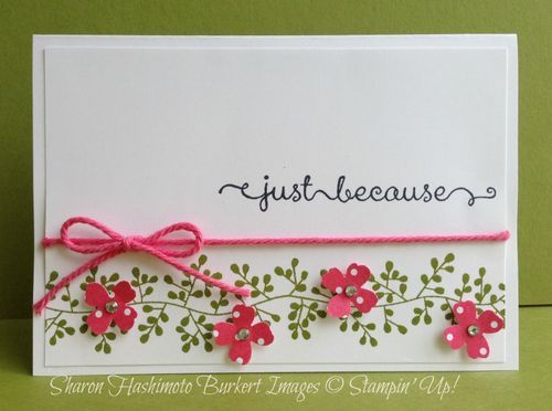 handmade greeting card ... Bordering Blooms stamped and small punched flowers placed on top ... thick string in matching deep rosy pink wraps the one panel ... sweet feminine look ... Stampin' Up!