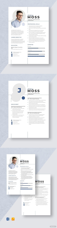 Marketing communications coordinator resume template in