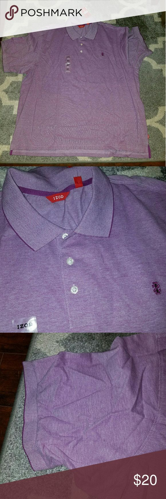 Mens Brand New Purple Izod Polo Shirt Size 4X Never worn. Size is 4xl. Purchased from Macys last summer and they are too large for my hubby. Same shirt in blud also in my closet. Izod Shirts Polos