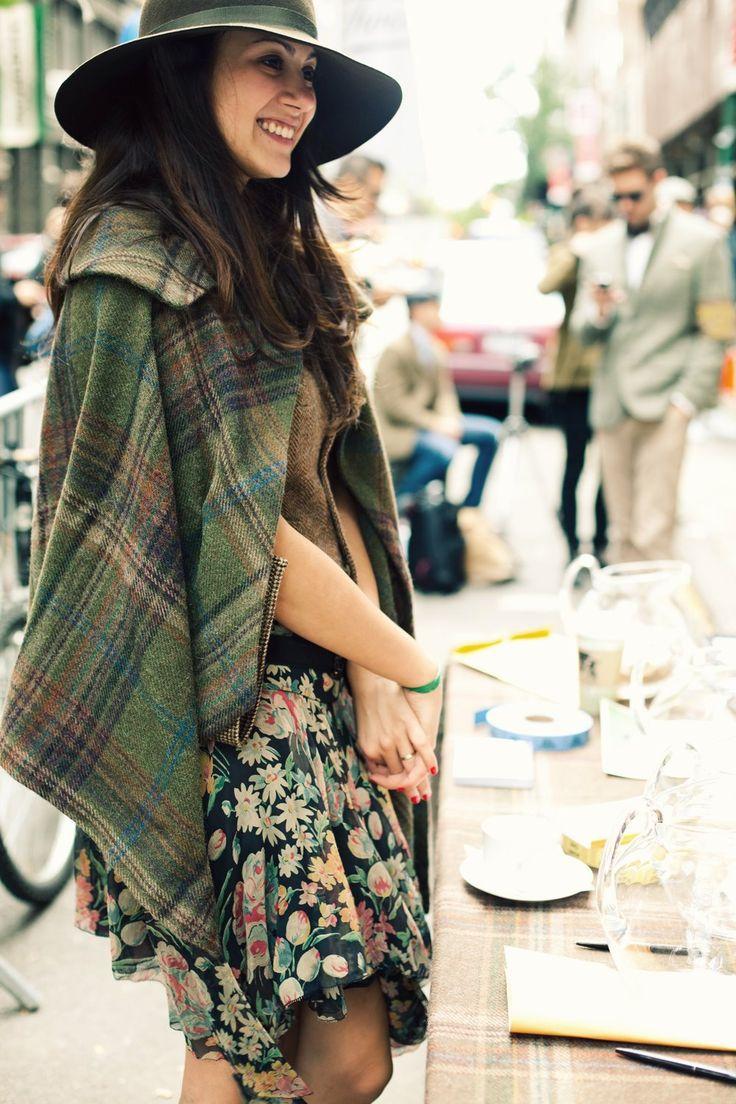 Wool plaid cape