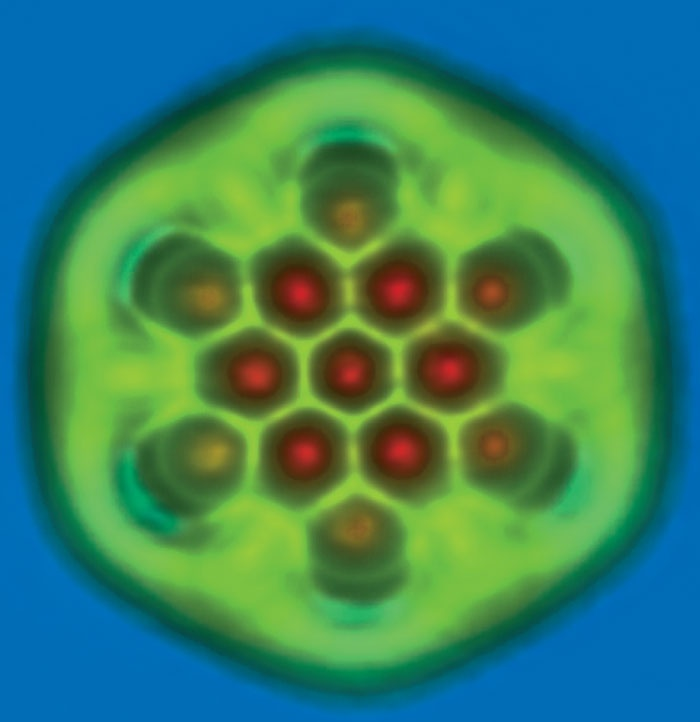 A nanographene molecule exhibiting carbon–carbon bonds of different length and bond order imaged by non-contact atomic-force microscopy using a carbon-monoxide functionalized tip. The molecule was synthesized at the Centre National de la Recherche Scientifique in Toulouse.Image credit: IBM Research Zurich.