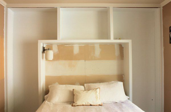 Built in headboard shelves