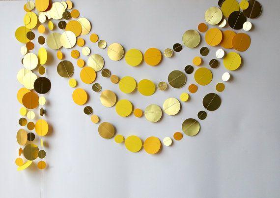 Wedding decorations Gold & yellow garland by TransparentEsDecor