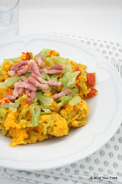 Snijbonenstamppot met zoete aardappel - Mind Your Feed