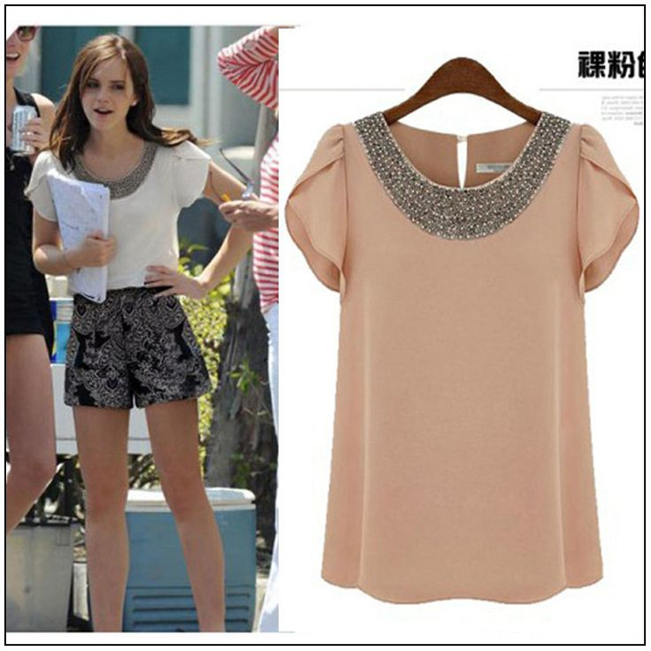 Find More Blouses & Shirts Information about AliExpress 2014 Women's new loose lotus sleeve beaded chiffon shirt round neck short sleeve T shirt T shirt Women,High Quality Blouses & Shirts from Guangzhou vicky hair products co., LTD  on Aliexpress.com