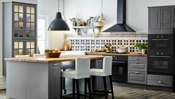 große-küche-graue-farbe- barhocker - 45 wunderschöne Ideen für ...