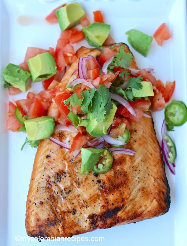 Grilled Salmon with Fresh Tomato and Avocado Salsa