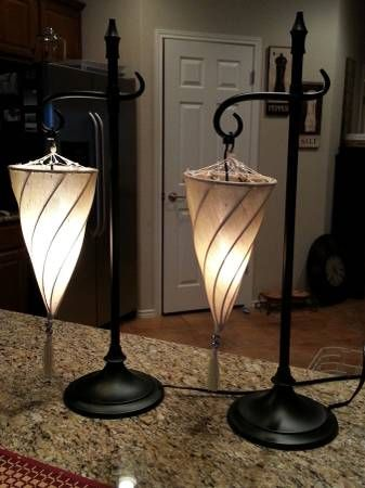 A Matching Pair Of Moroccan Style Spiral Hanging Cone Shaped Cloth Tan Shade Desk Table Lamp With Black Metal Stand T Furniture