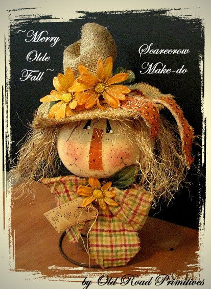 Primitive Merry Olde Fall Scarecrow Make-do e by OldRoadPrimitives