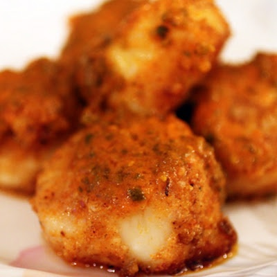 Buffalo Scallops: Fish Seafood, Red Peppers, Almonds Flour, Buffalo Sauces, Keys Ingredients, Scallops Recipes, Buffalo Wings, Breads Crumb, Buffalo Scallops