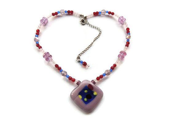 purple fused glass necklacerhombus beaded by Homeforglasslovers, $40.00